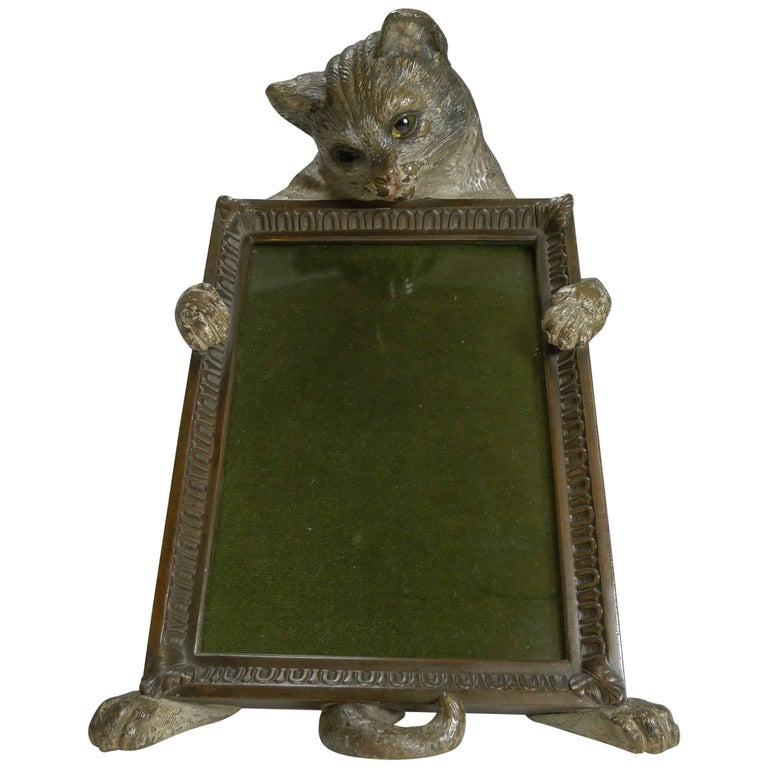 Very Rare Cold Painted Bronze Novelty Photograph Frame, Cat with Glass Eyes