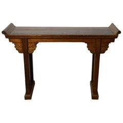 Chinese 19th Century Everted-Flange Altar Console Table with Hand-Carved Apron