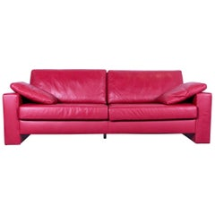 Ewald Schillig Designer Three-Seat Sofa Red Leather Couch