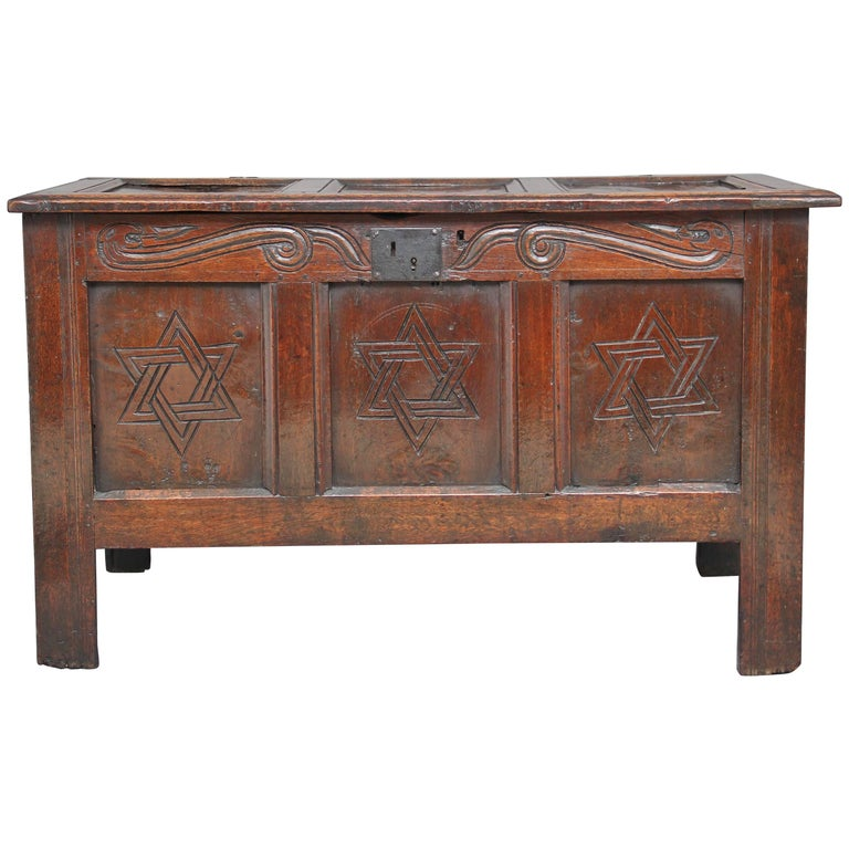 17th Century Carved Oak Coffer For Sale