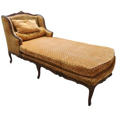 18th Century Louis XV Natural Wood Chaise Longue