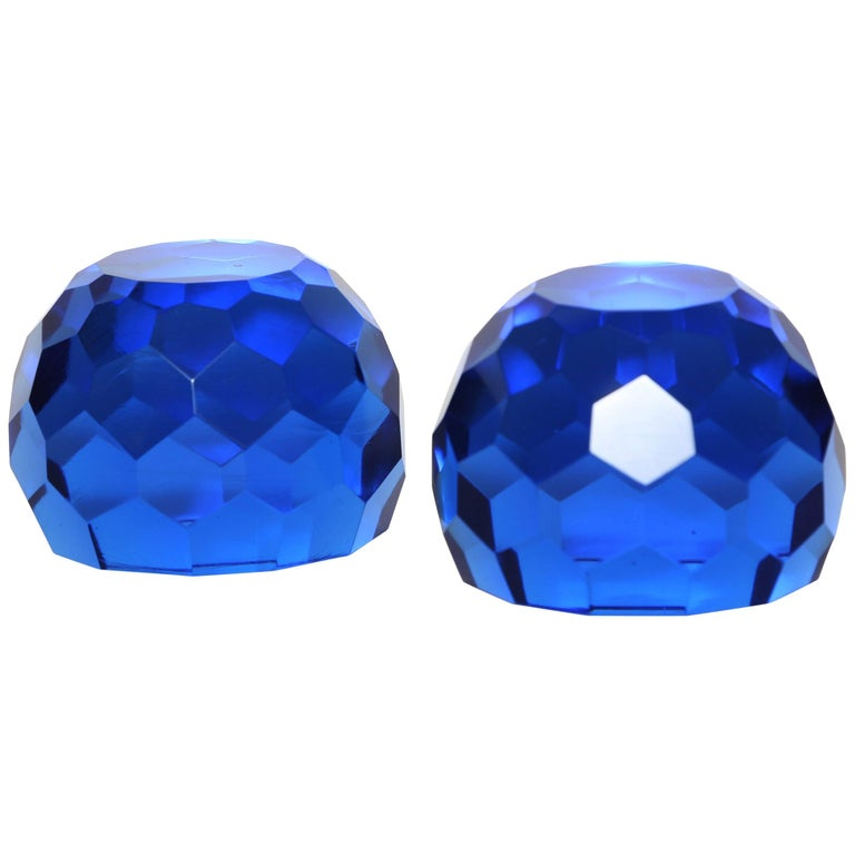 Pair of Multifaceted Azure Blue Paperweights For Sale