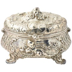 Antique Silver Plate Cherub Angel Floral Box