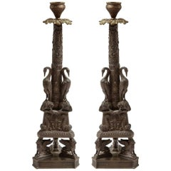 Pair of Patinated Bronze Candlesticks after Piranesi