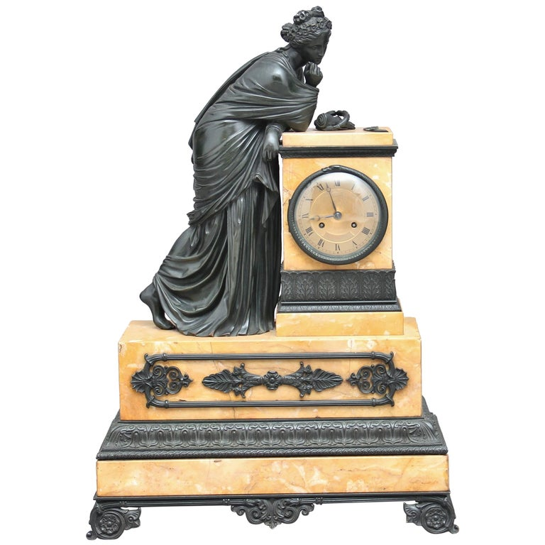 Early 19th Century French Bronze and Marble Mantel Clock For Sale
