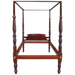American Classical Mahogany Four Poster Tester Bed, Attrib. S. McIntire C. 1800