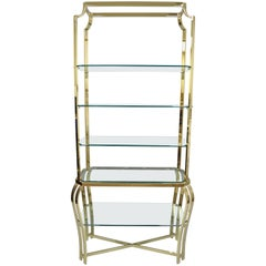 Hollywood Regency Brass & Glass Etagere Gold Bookcase in the Milo Baughman Style