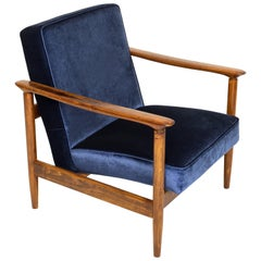 Dark Blue Velvet Armchair, Designed by Edmund Homa, 1960s