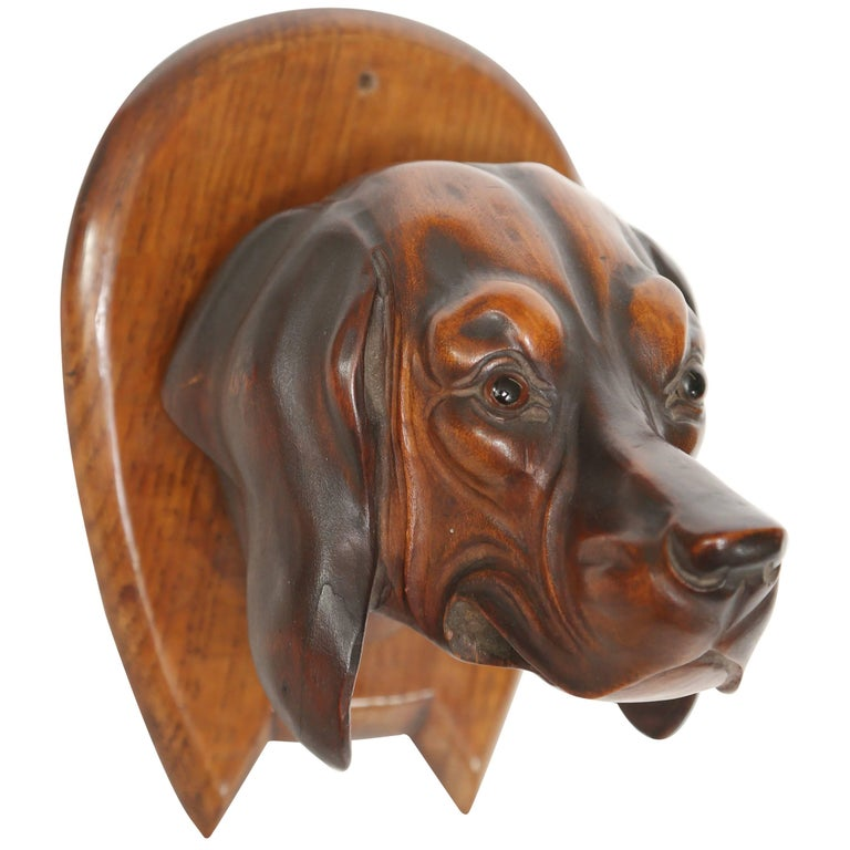 Hand-Carved Dog's Head Riding Crop Holder For Sale