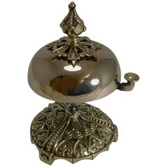 Antique English Desk or Counter Bell in Cast Brass, circa 1880