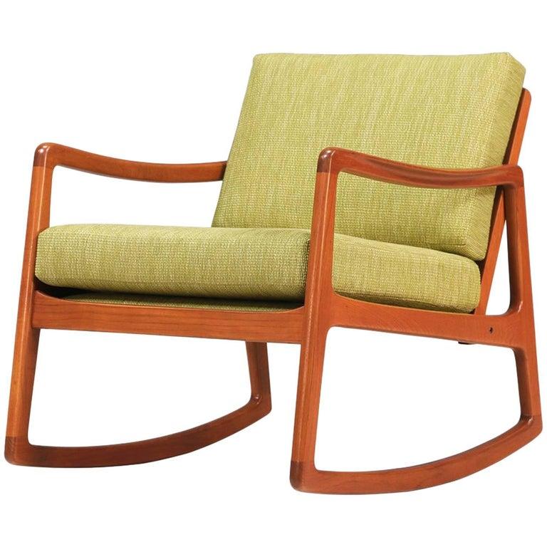 Ole Wanscher Teak Rocking Chair for France & Søn