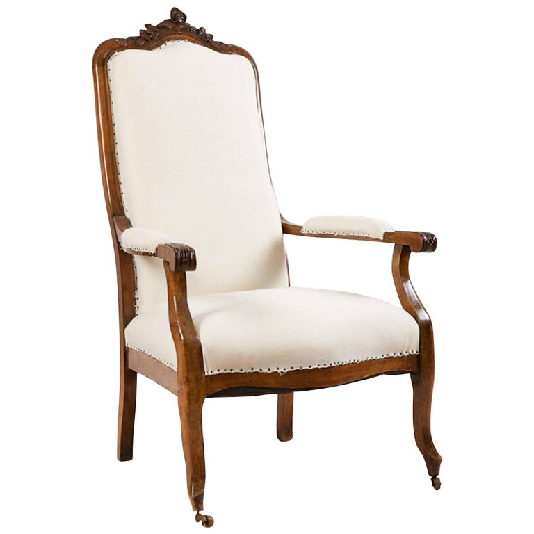 French Napoleon III Fauteuil/ Armchair in Walnut with Upholstery, circa 1870
