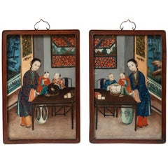 Pair of Chinese Reverse Painted Glass Pictures