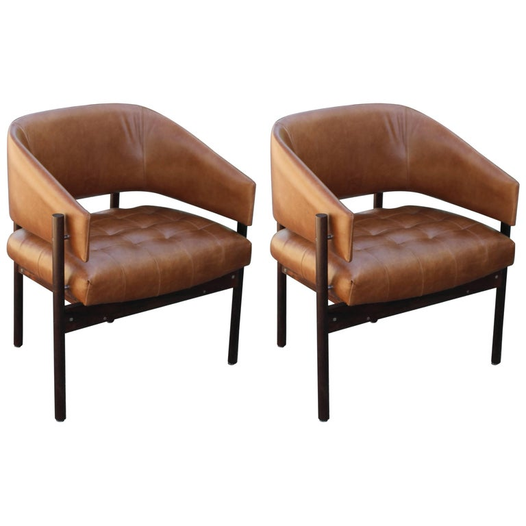 Pair of Modern Jorge Zalszupin 'Senior' Rosewood Lounge Chairs for L'Atelier