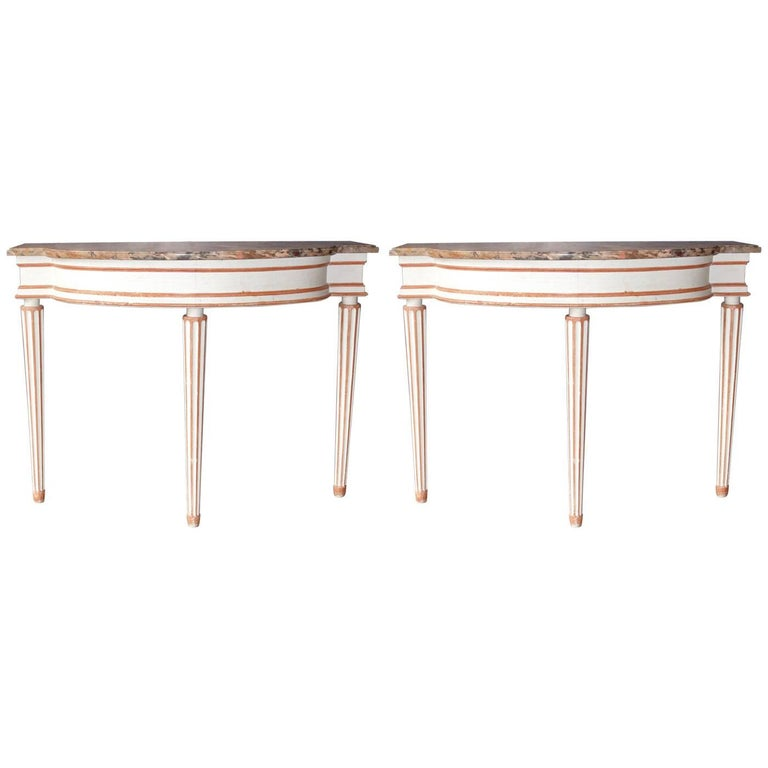 Pair of Louis XVI Style Console Tables in the Taste of Maison Jansen