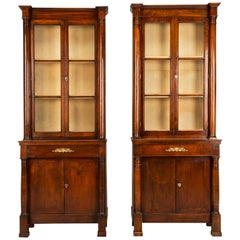 "Pair of Antique French ""Tres Petite"" Empire Bookcases, Fully Restored"
