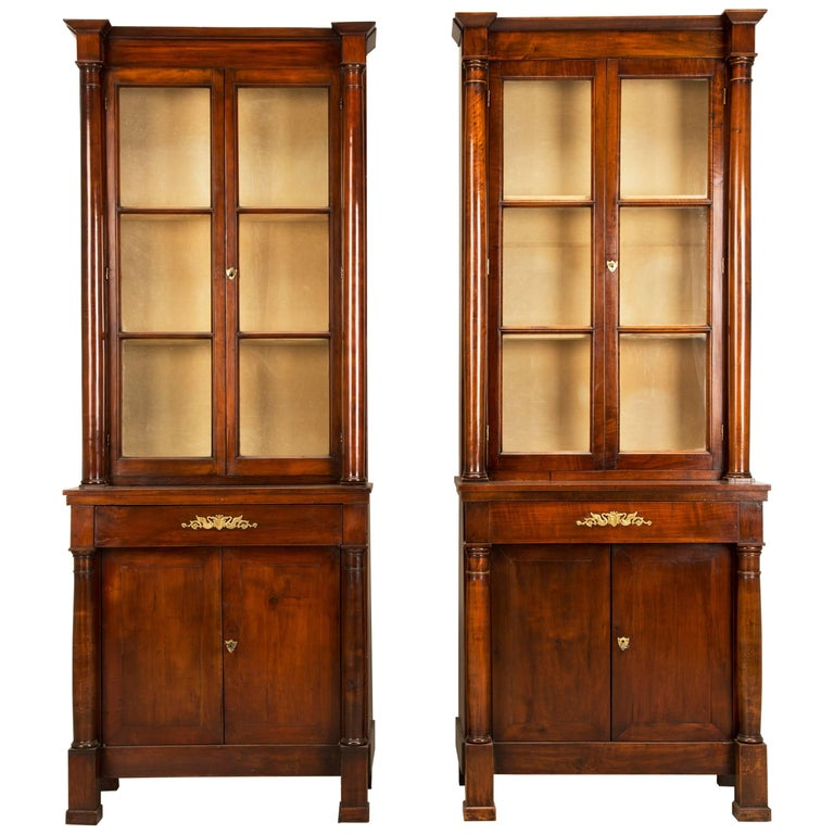 """Pair of Antique French """"Tres Petite"""" Empire Bookcases, Fully Restored"""