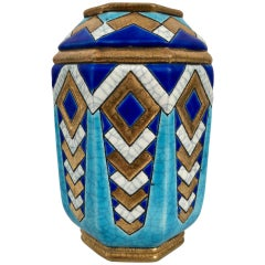 Gold and Shades of Blue Longwy Vase, Craquelling Glaze, Art Deco, France 1930s