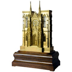 Fire-Gilded Bronze, 19th Century Rouen Cathedral Clock with Music Box
