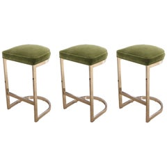 Set of Three Modern Milo Baughman Chrome & Green Mohair Cantilevered Bar Stools
