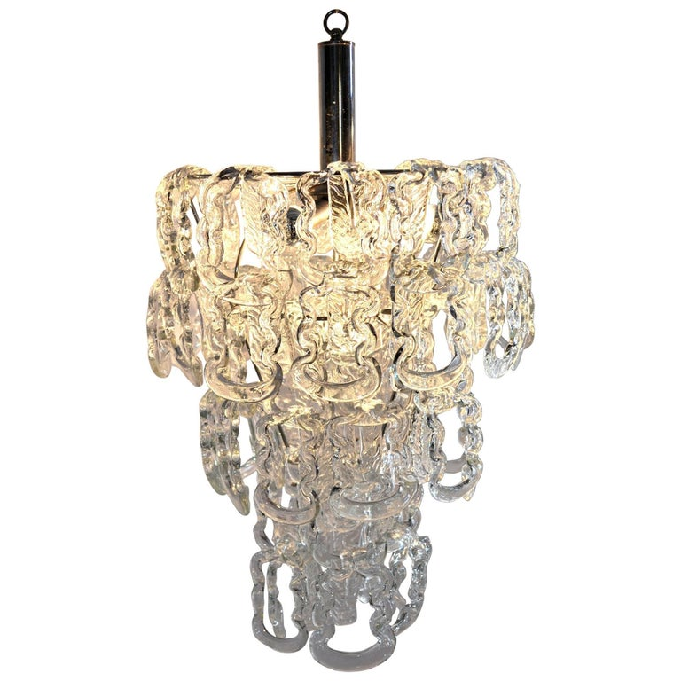 Glass Chain Chandelier by Angelo Mangiarotti for Vistosi, 1960 For Sale
