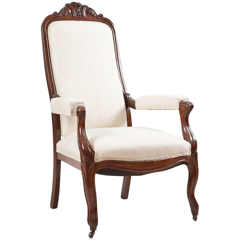 French Louis Philippe Armchair/Fauteuil in Mahogany with Upholstery, circa 1830 For Sale