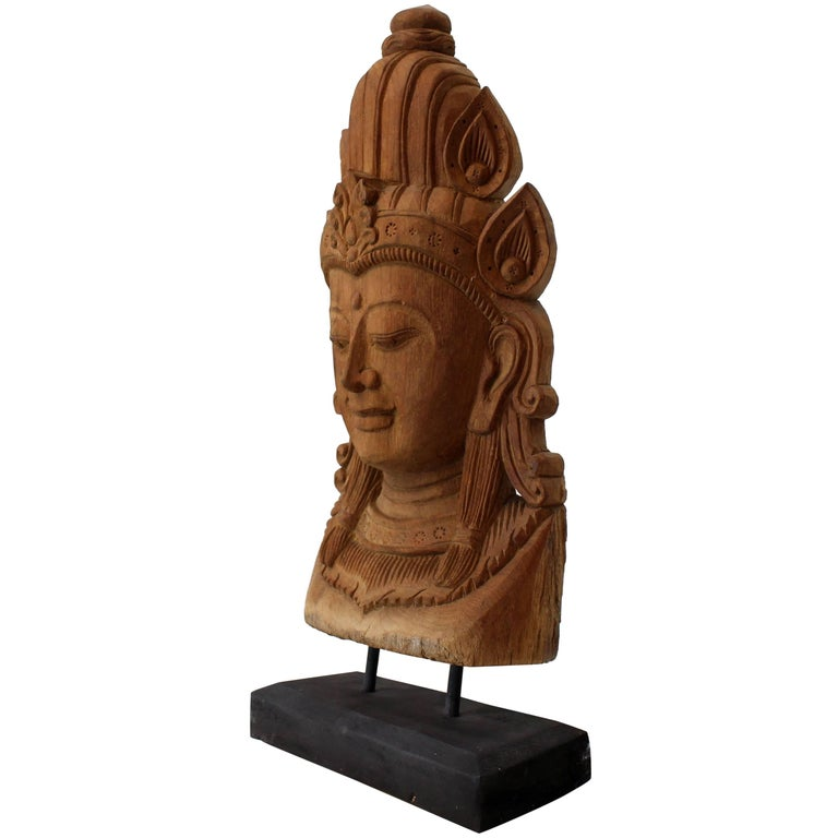Fine Carved Teak Mask on Stand Sculpture of Buddha