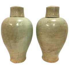 Pair of Chinese Covered Celedon Glazed Urns Vessels Jars with Cups