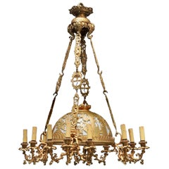 French Japonisme Ormolu and Opaline Elephants Designed 19th Century Chandelier