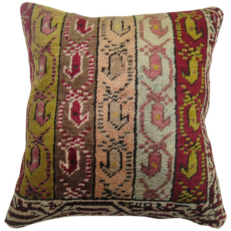 Turkish Ghiordes Rug Pillow For Sale