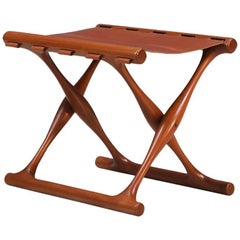 "Poul Hundevad ""Gold Hill"" Teak Folding Stool for Vamdrup Stolefabrik"