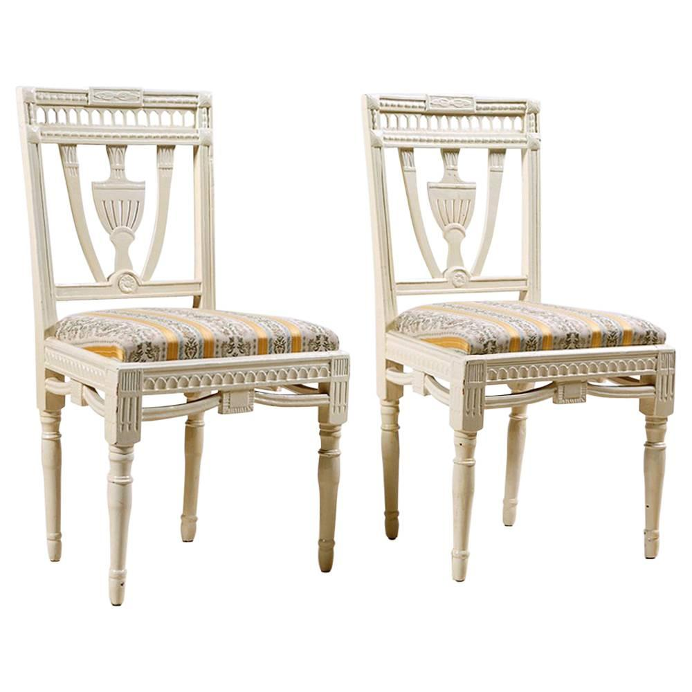 Pair Of Painted Swedish Gustavian Side Chairs With Upholstered Seat, Circa  1810