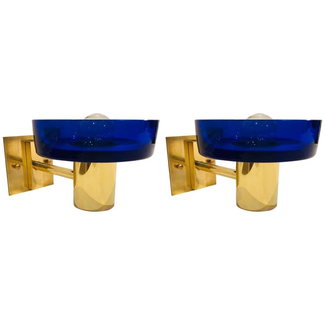 Pair of Seguso Murano Glass 1960s Wall Lights