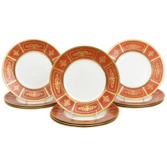 12 Minton for Tiffany Antique Orange Raised Gilt Encrusted Dinner Plates