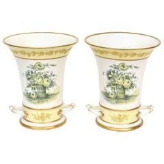Pair of Vases, Mottahedeh, Pretty Yellow Floral Design, Vintage