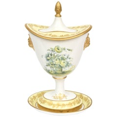 Yellow Covered Vase and Stand, Vintage Mottahedeh, Rose Floral Motif