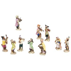 Whimsical Monkey Band Orchestra Meissen Style, Set of 10 Hand Painted Antique