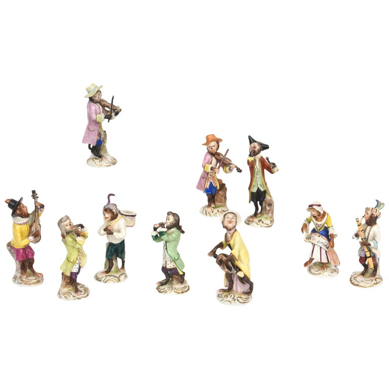 Whimsical Monkey Band Orchestra Meissen Style, Set of 10 Hand Painted Antique For Sale