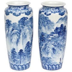 Pair of Vases, Antique Blue and White Japanese, Signed