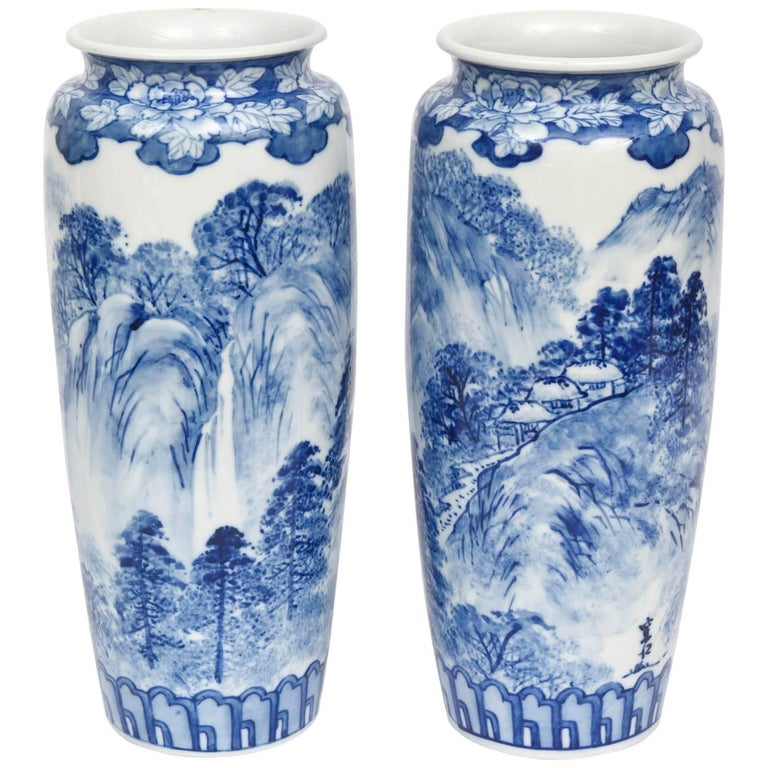Pair Of Vases Antique Blue And White Japanese Signed For Sale At