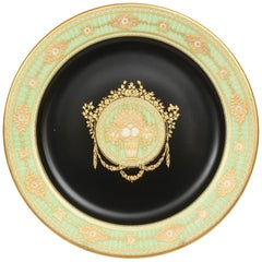 12 Antique Green and Black Rare Unique Embossed Gilt Dessert or Cabinet Plates