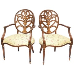 Pair of Carved Mahogany Armchairs, Lovely Decorative Back and Finely Turned Legs