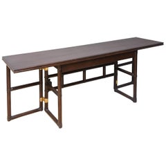 McGuire Extension Dining Table or Console, Chinoiserie Style with Great Hardware