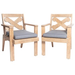 "Pair of Cerused Oak ""X"" Armchairs"