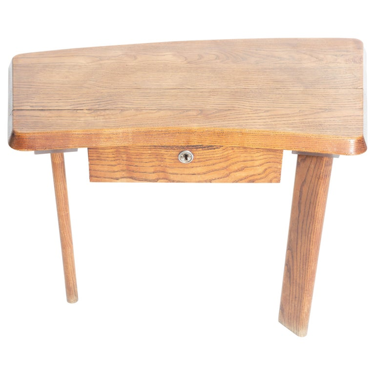 Three-Legged Wooden Oak Table with Drawer, in the Manner of Charlotte Perriand For Sale