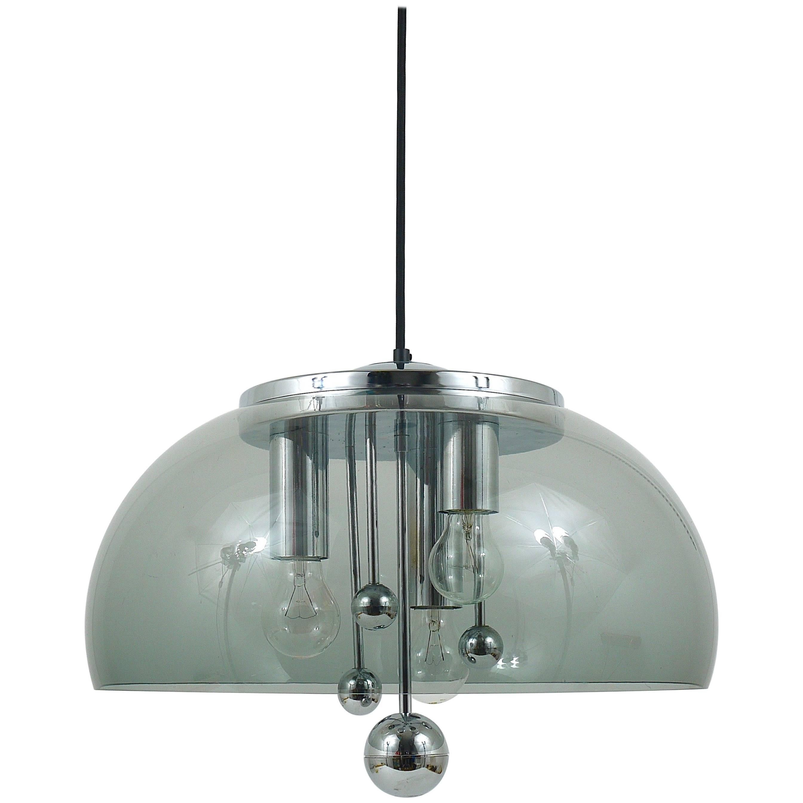 Midcentury Space Age Globe Pendant Lamp with Chromed Spheres, Germany, 1970s
