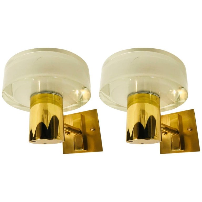 Pair of Seguso Flavio Poli Murano Glass Wall Lights For Sale