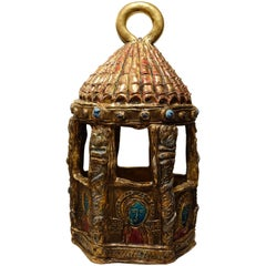 """Neo Byzantine Ceramic Lantern"" circa 1950 , Moustiers, France"