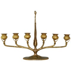 Tiffany Studios New York Gilt Bronze Six-Light Candelabrum