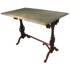 Italian Cast Iron Base with Marble Top Garden Table